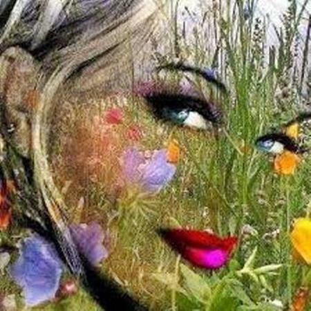 Caras de mujer hechas con flores 24cwq4l