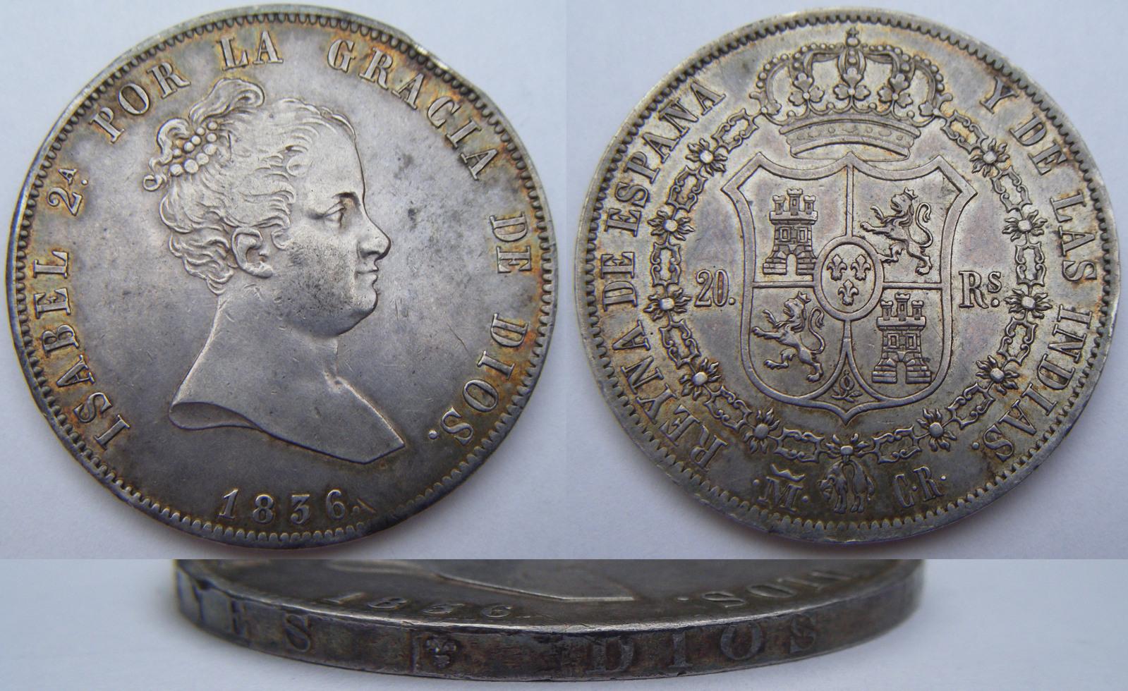 20 REALES ISABEL II 1836 MADRID CR 28vzgi