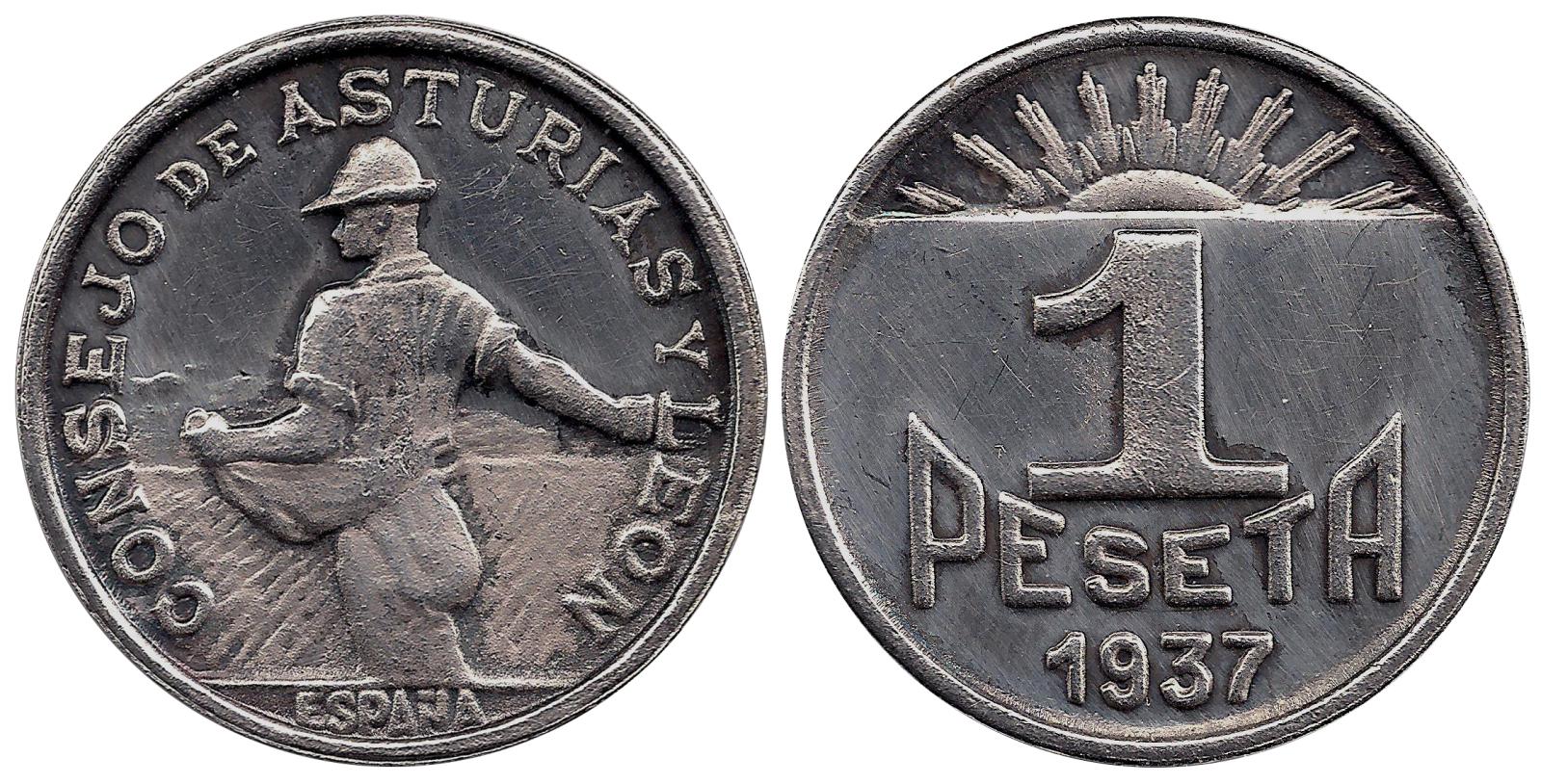 1 Peseta 1937 Consejo de Asturias Y León  28wcx2u