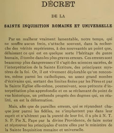 Décret «Lamentabili sane exitu» de Saint Pie X, du  3 juillet 1907 2cram4h