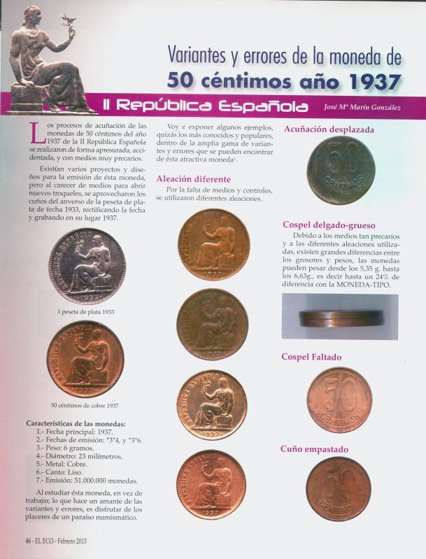 VARIANTES Y ERRORES DE LA MONEDA DE 50 CÉNTIMOS DEL AÑO 1937 DE LA SEGUNDA REPÚBLICA ESPAÑOLA 2hezhqh