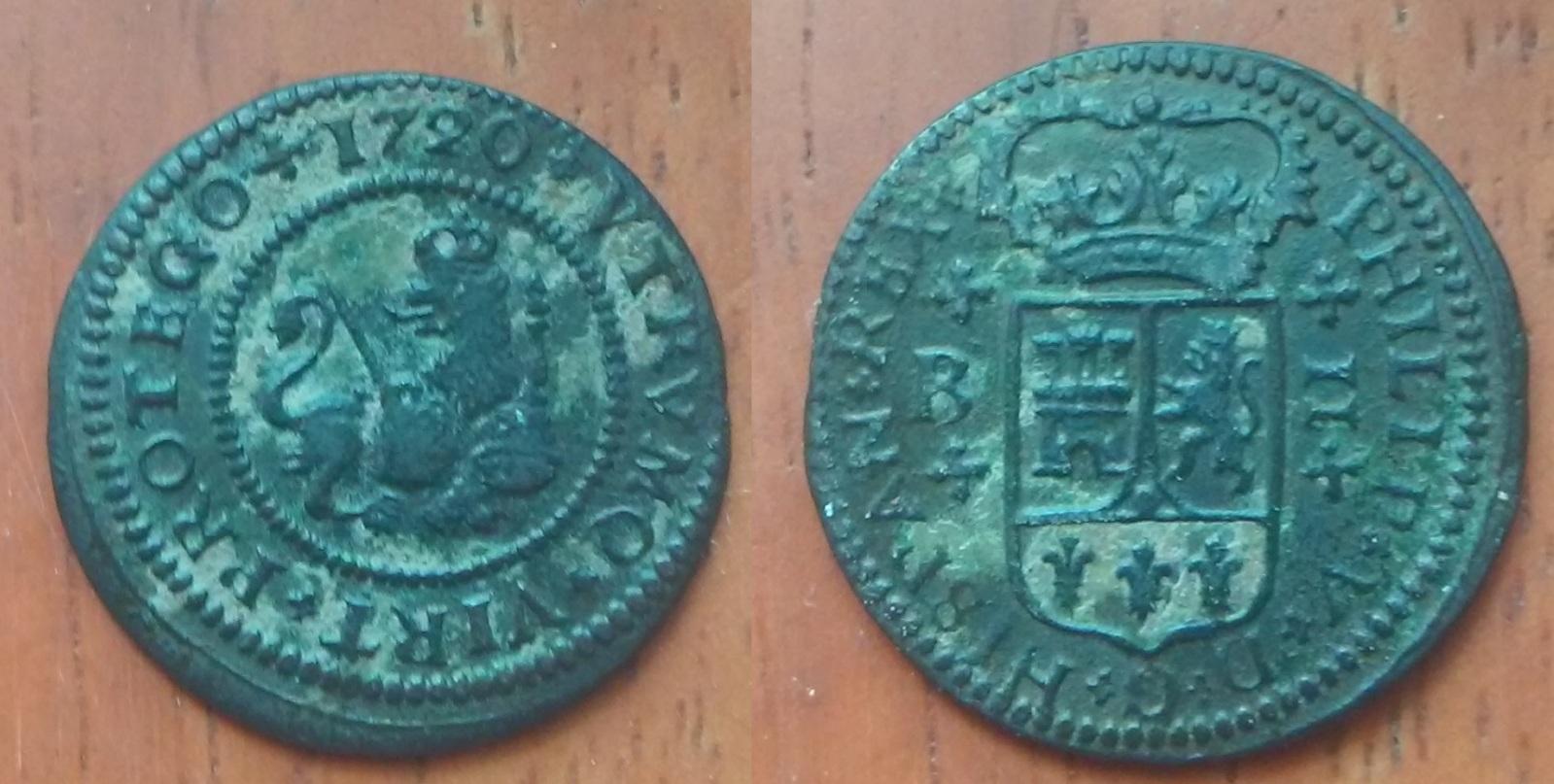 2 maravedís 1720. Felipe V. Barcelona 2hy828m