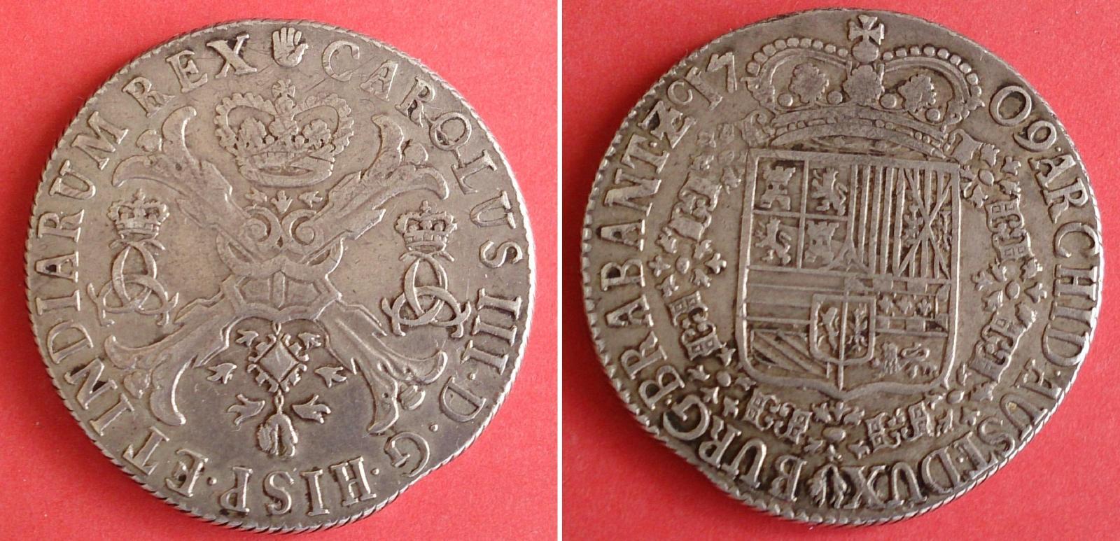 Patagón de 1709. Carlos III (pretendiente). Amberes de Brabante 2mx1jci