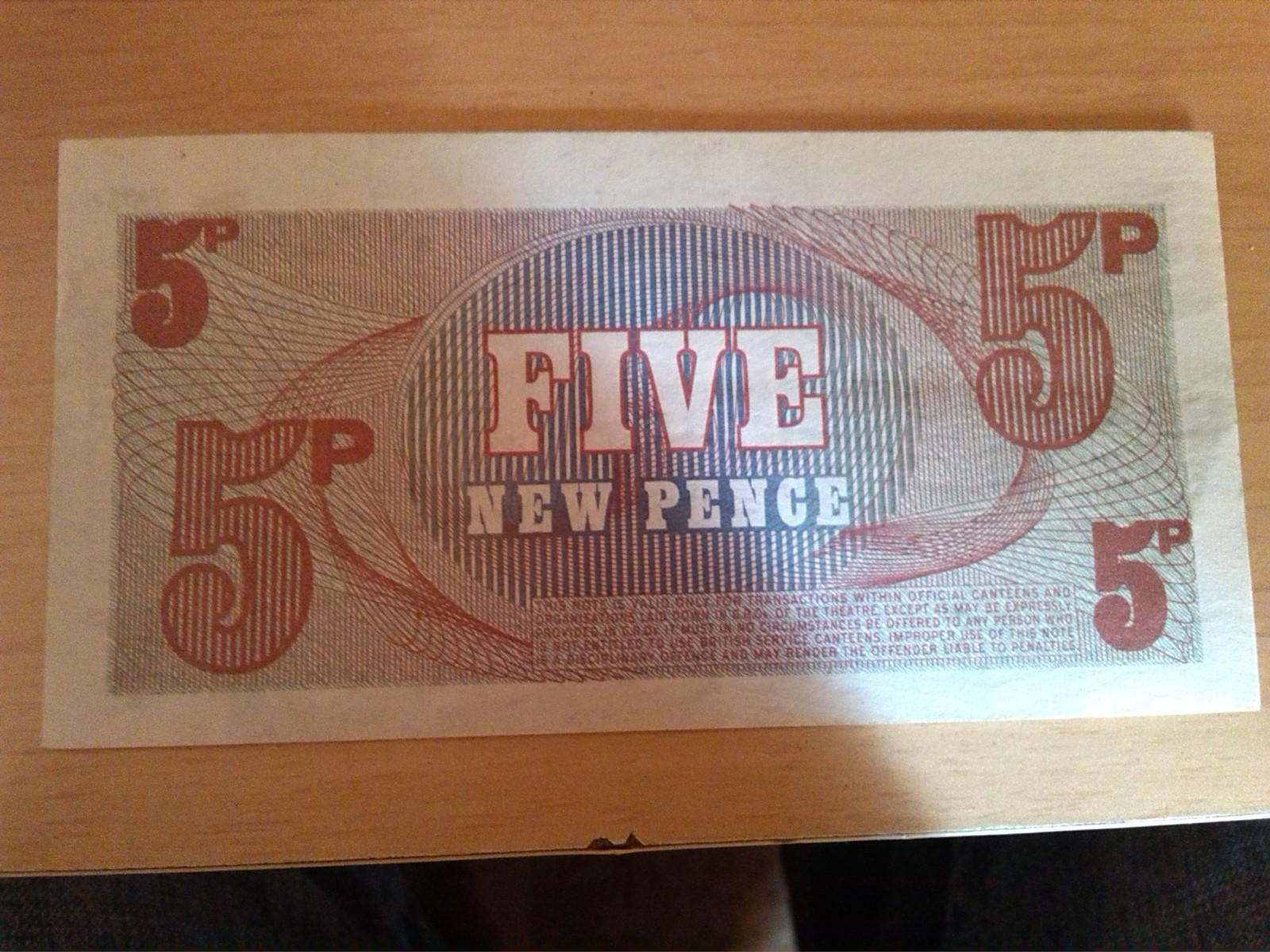 billete 5p british armed forces five new pence 331lpbk