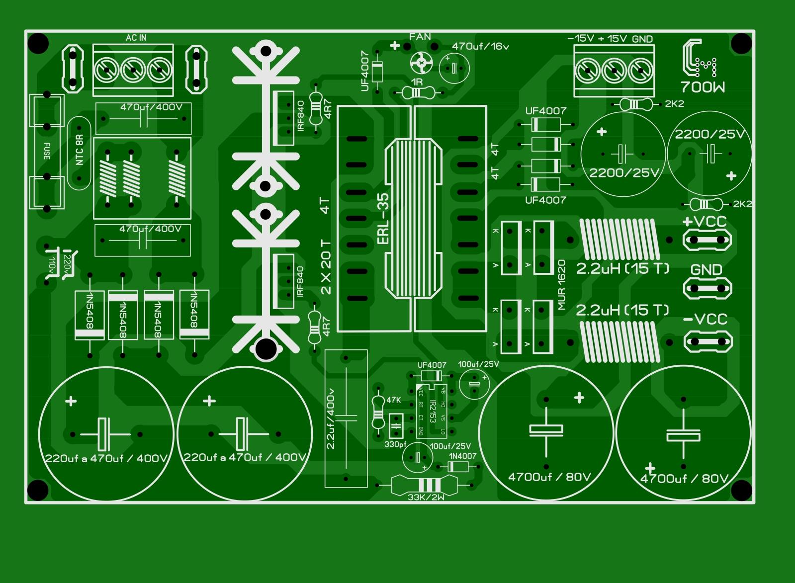 FONTE COM  IR2153 SEM MJE13007  de 700W  5k3oup