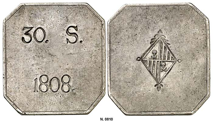Sobre la variante 30 SOUS octogonal sin la leyenda FER. VII 5u15e