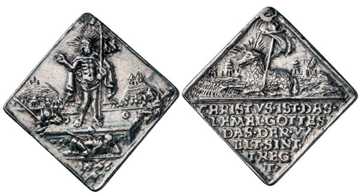 Medalla de Cristo Resucitado / Agnus Dei - s. XVI -1555- MR(250) (R.M. SXVI-Ot2 Bgts9e