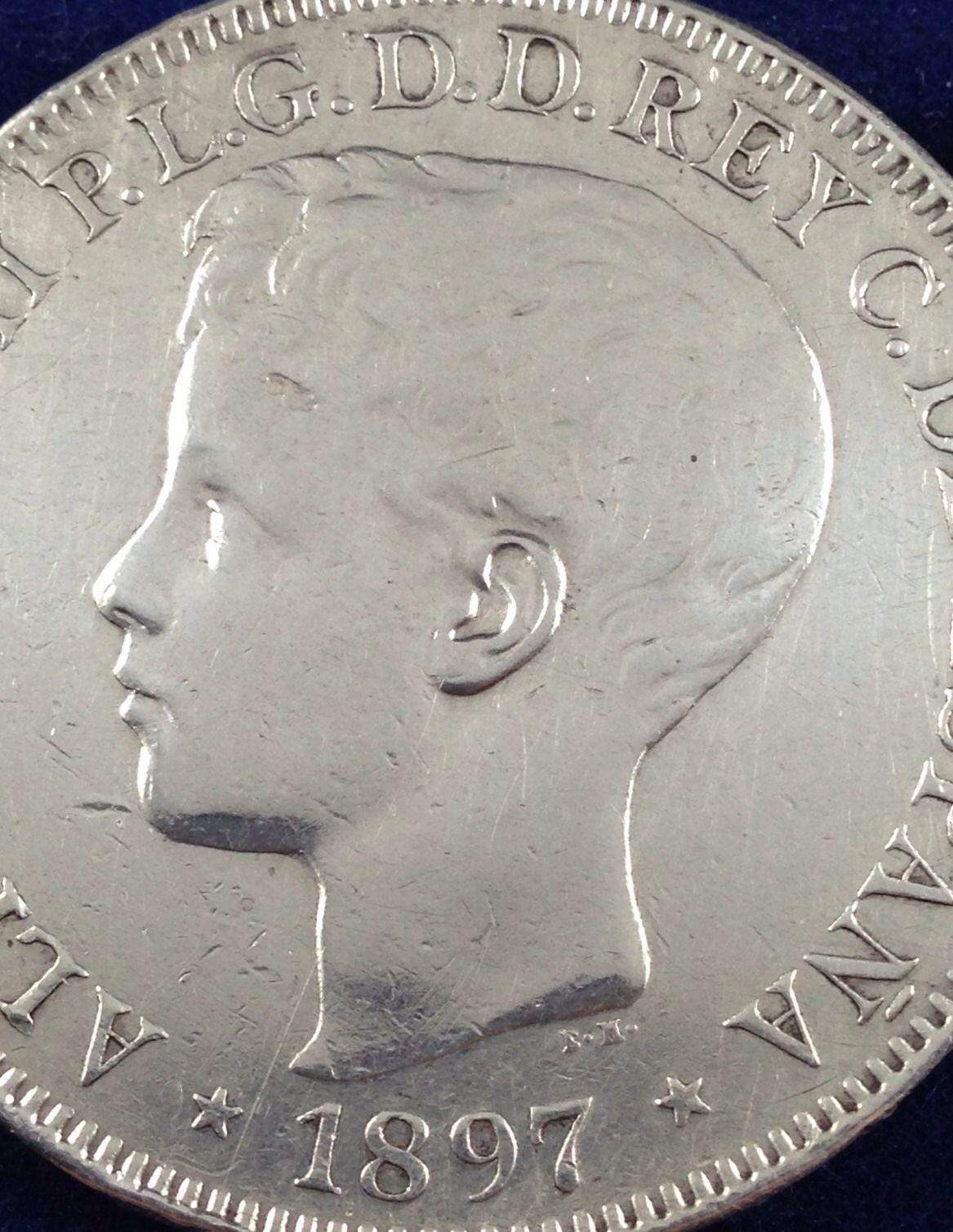 otro Peso 1897 Filipinas 5 Pesetas Manila  Jjodc3