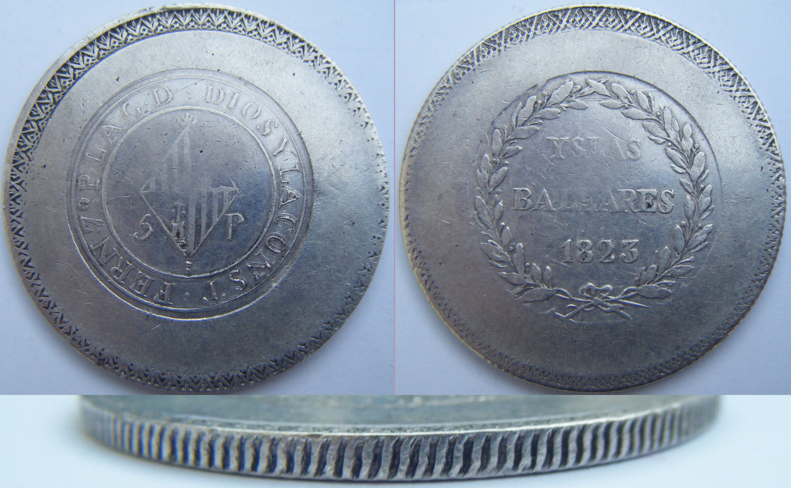 5 pesetas 1823. Fernando VII. Islas Baleares Mk9q0y