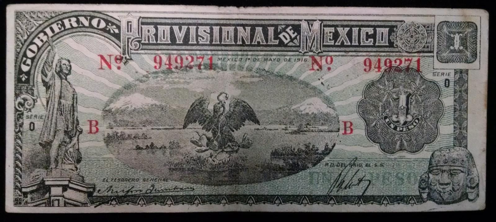 1 peso 1916 Mexico Wa3eh2