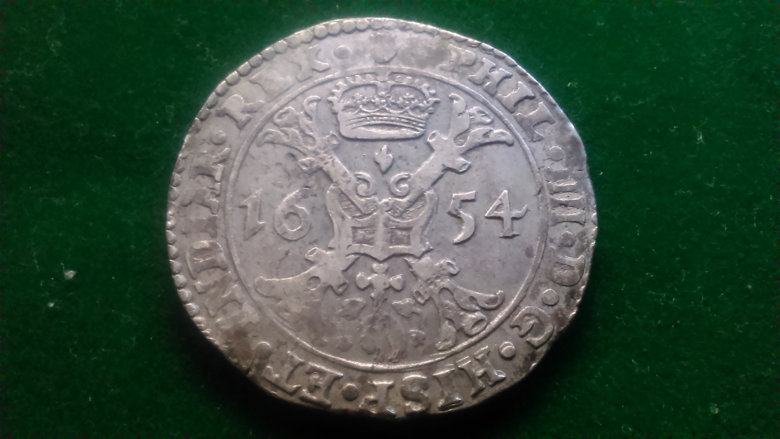1 Patagón. Felipe IV 1654 Amberes. Dedicada a Lanzarote X28ehz