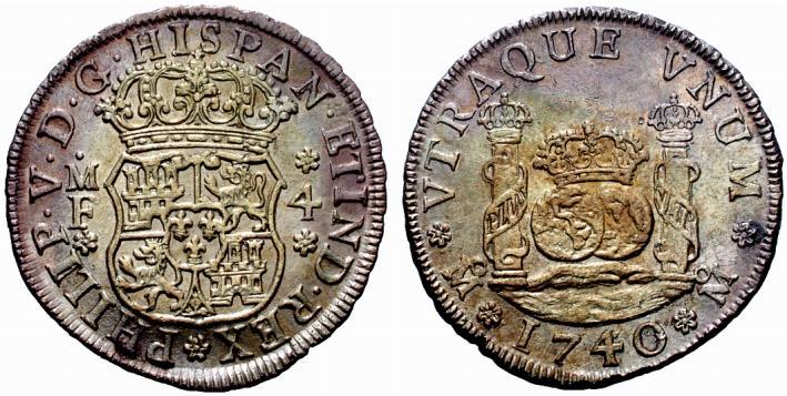 4 reales columnario de 1740. Felipe V, México 10h4lk4