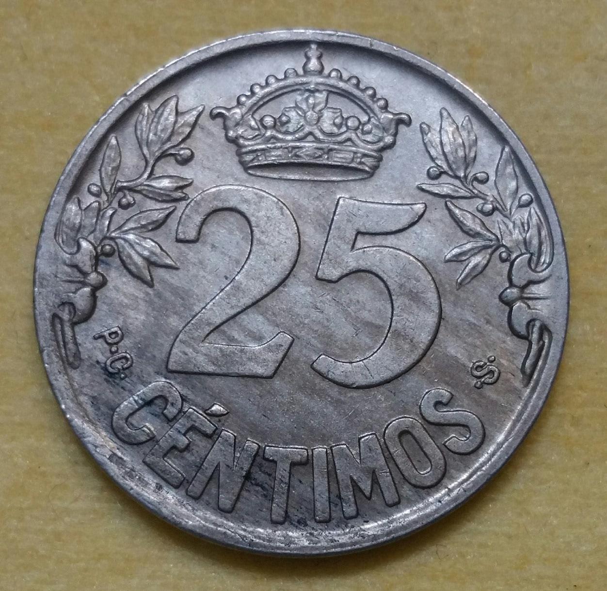 1925 - Serie completa 25 céntimos 1925, 1927, 1934 y 1937. 25tjg5k