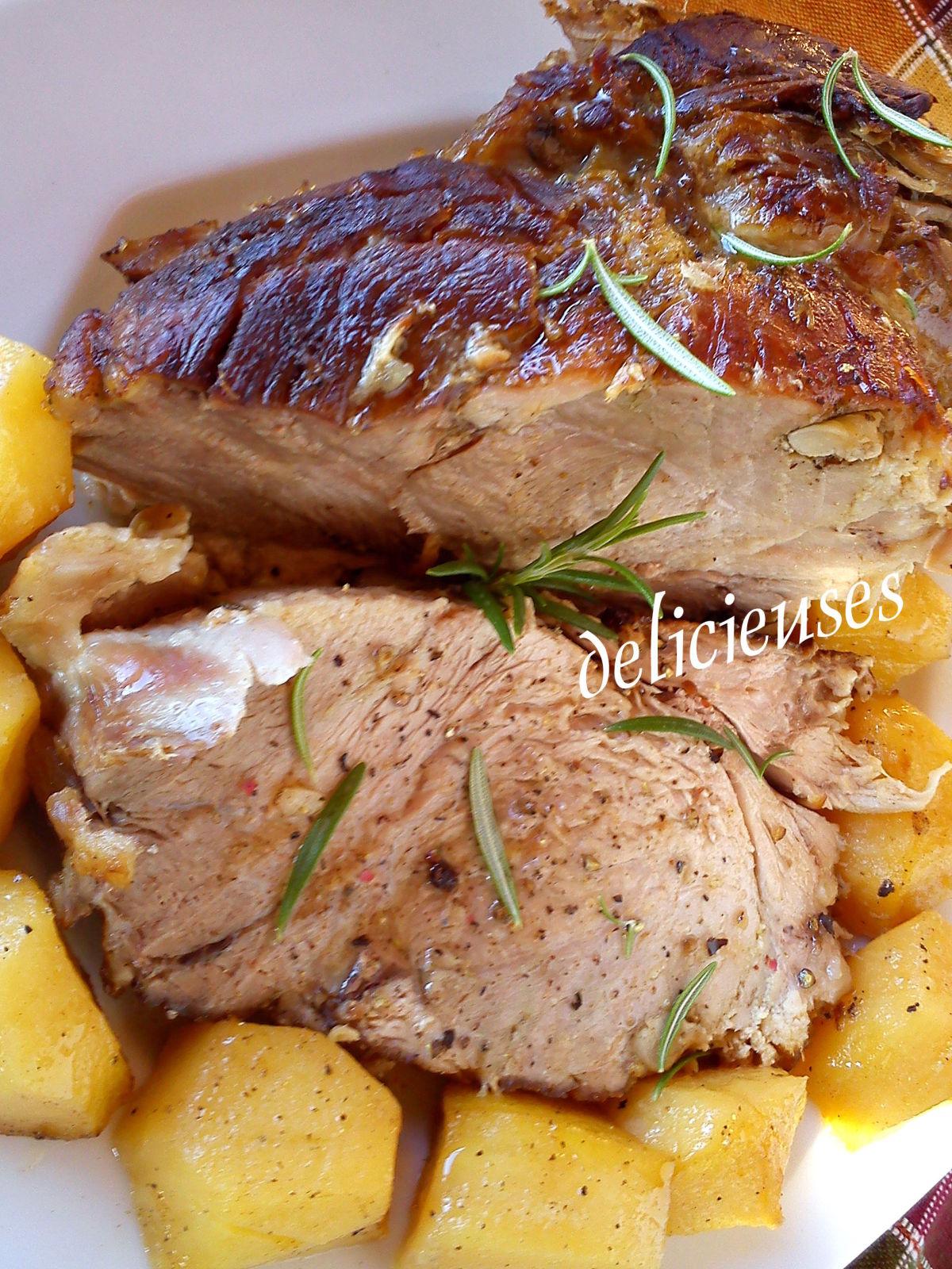 Χοιρινό μπούτι με δεντρολίβανο, σκόρδο, μέλι και μουστάρδα 2m6pe28