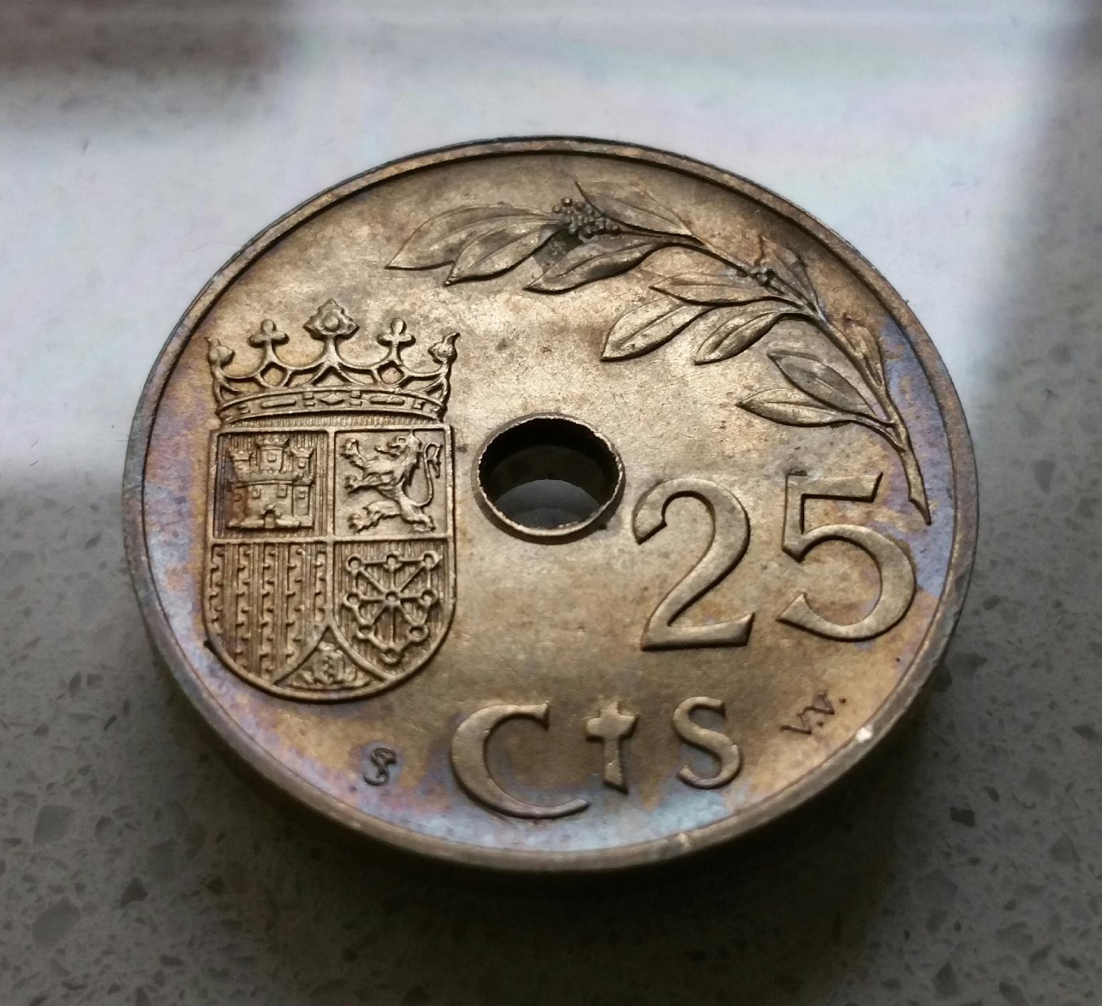 1925 - Serie completa 25 céntimos 1925, 1927, 1934 y 1937. Chumh