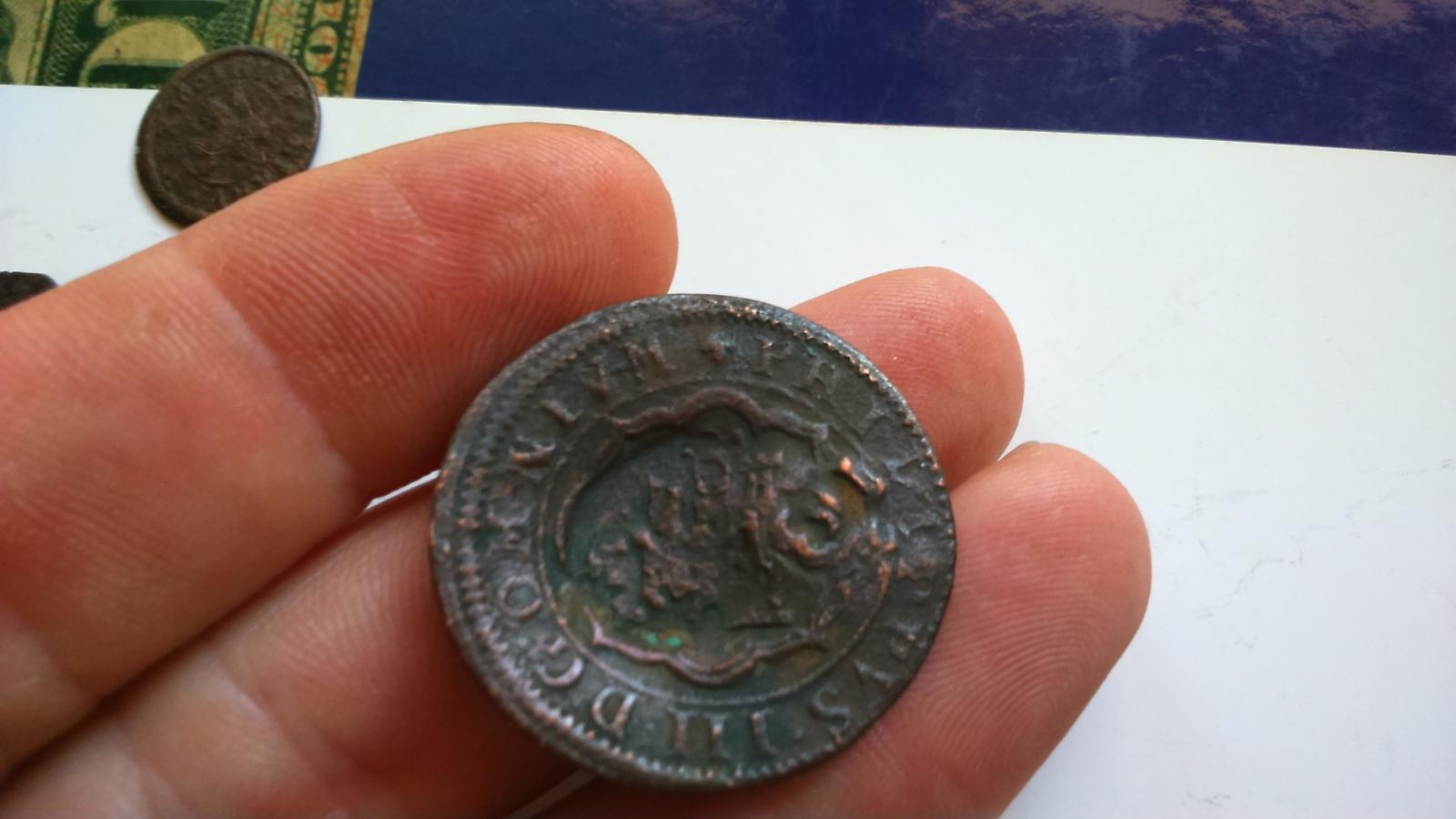 4 maravedís de 1601. Felipe III. Ceca de Segovia, con dos resellos. F398w4