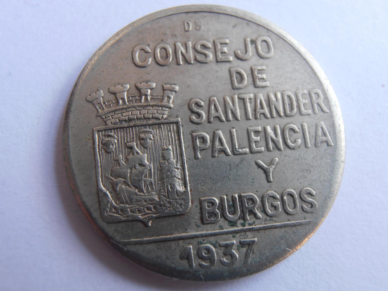 1 Peseta 1937. II República - Consejo Santander Palencia Burgos Ic5v6b