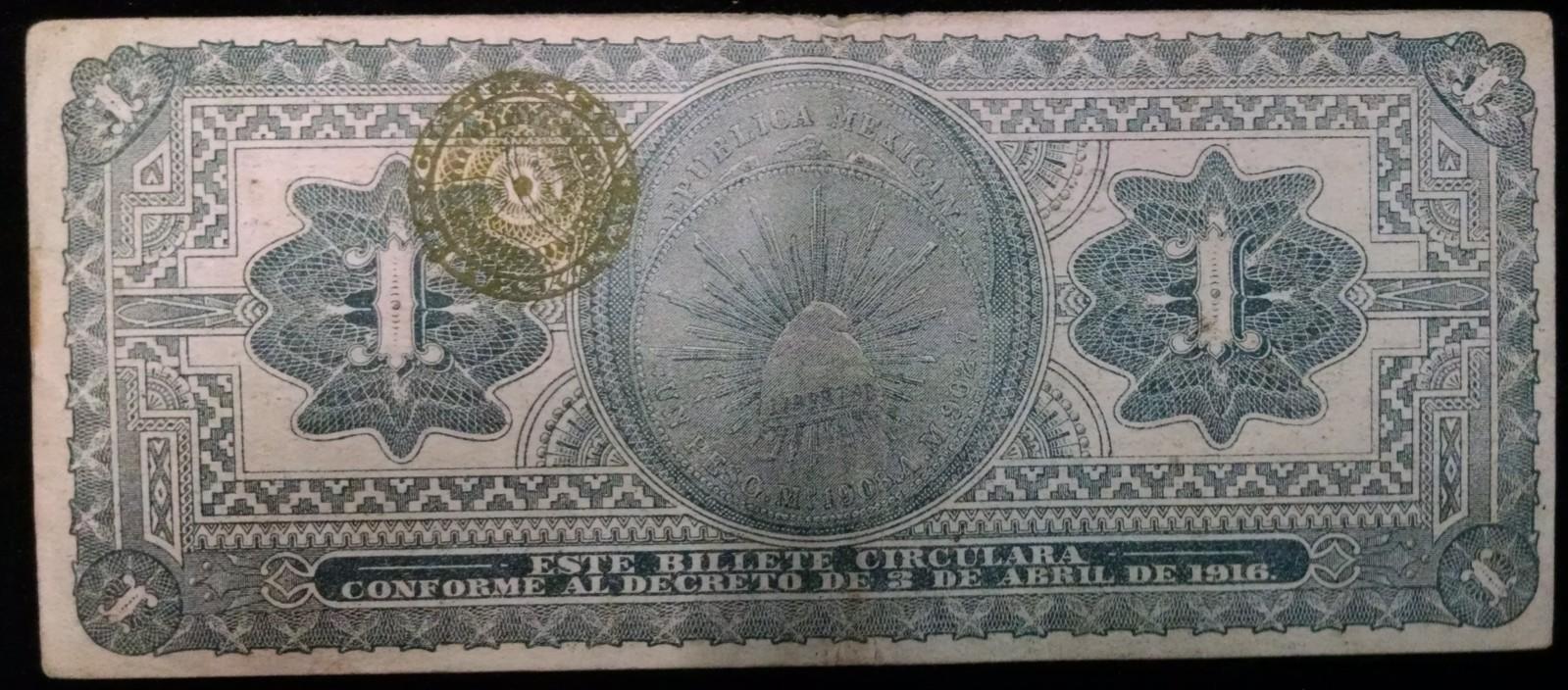 1 peso 1916 Mexico Mmfx54