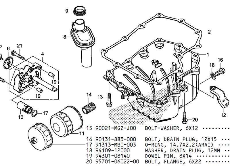 Tornillo vaciado aceite motor Nd23ad