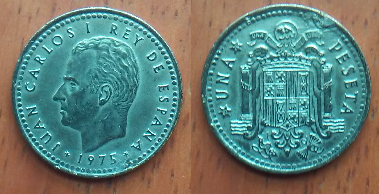 1 peseta 1975 *76 - Juan Carlos I. (baño plateado) Nwa81x