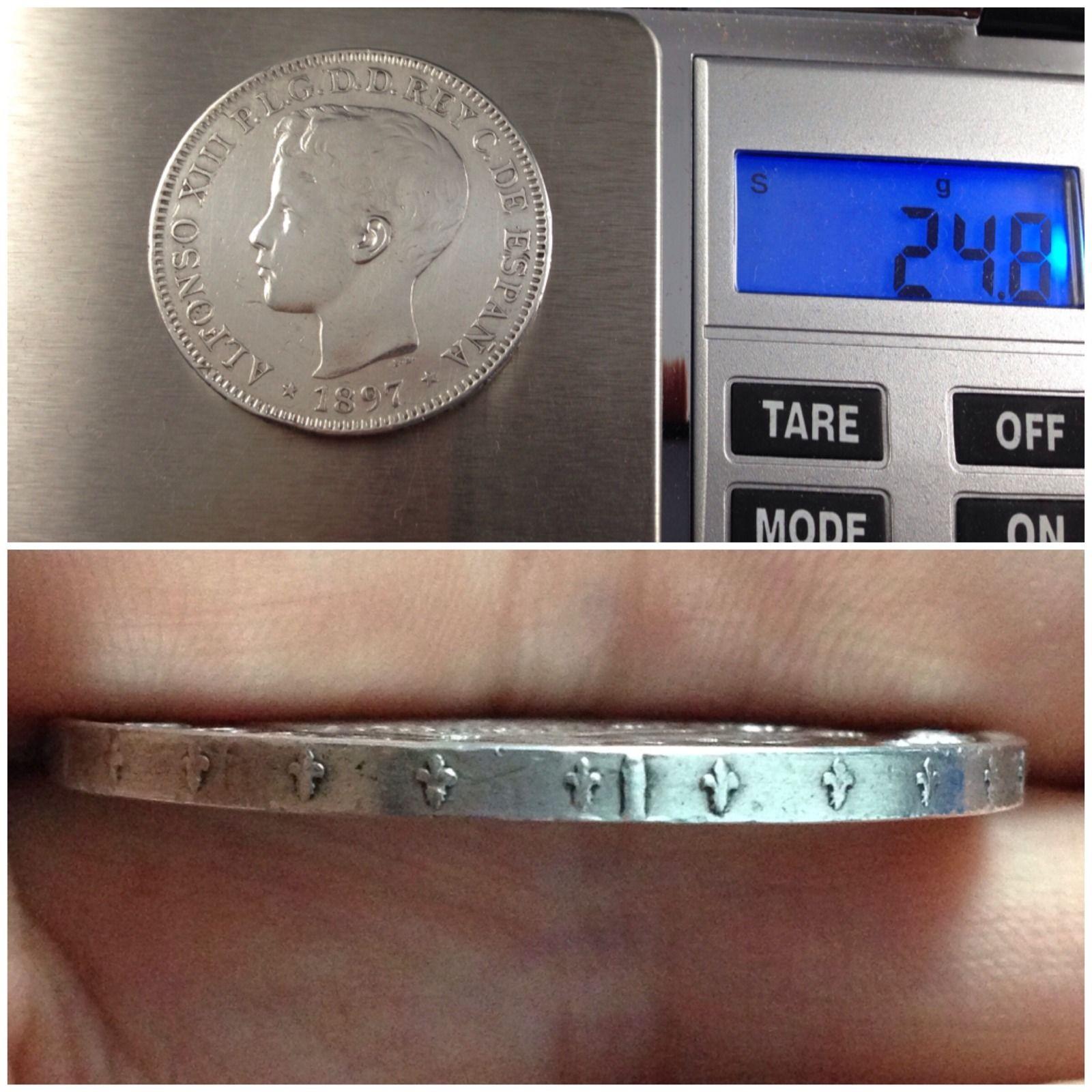 otro Peso 1897 Filipinas 5 Pesetas Manila  Vpgv82