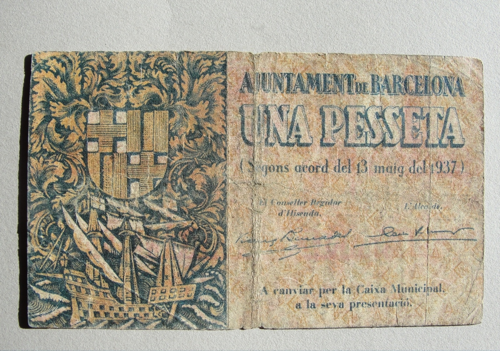 1 Peseta Barcelona, 1937 Vrxytg