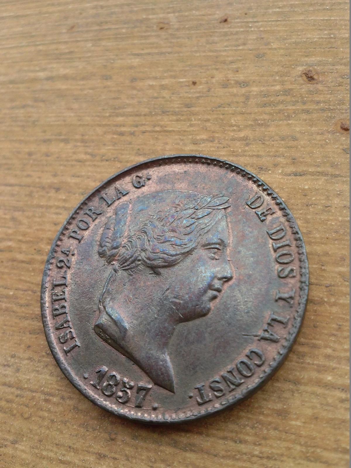 25 céntimos de real 1857. Isabel II. Segovia. X52w5g