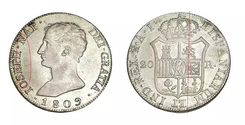 Diferencias en monedas de 20 Reales de Jose Bonaparte  10ne15l