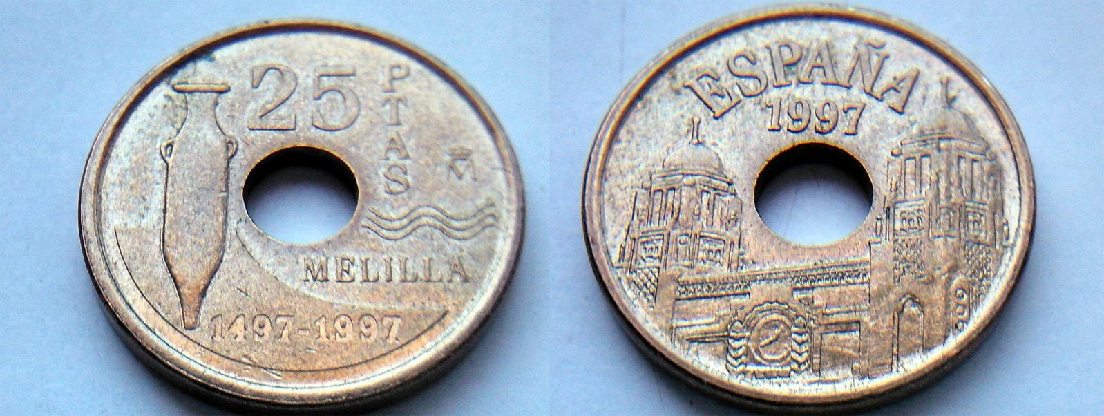 Variante de 25 pesetas Melilla 1997 Juan Carlos I 3sara