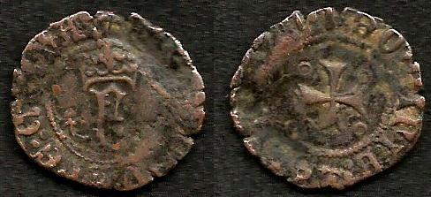 Dinero de Navarra a nombre de Fernando el Católico acuñada en tiempos de Carlos I. 97iesn