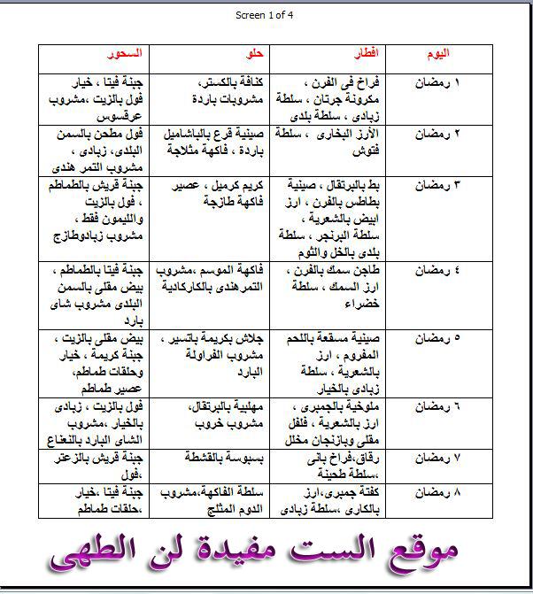 جدول بعض الاصناف اللى تقدميها فى رمضان فطار وسحور J0iu6f