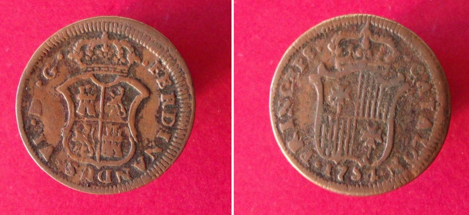 Ardite de 1754. Fernando VI. ceca Segovia. X6iezs