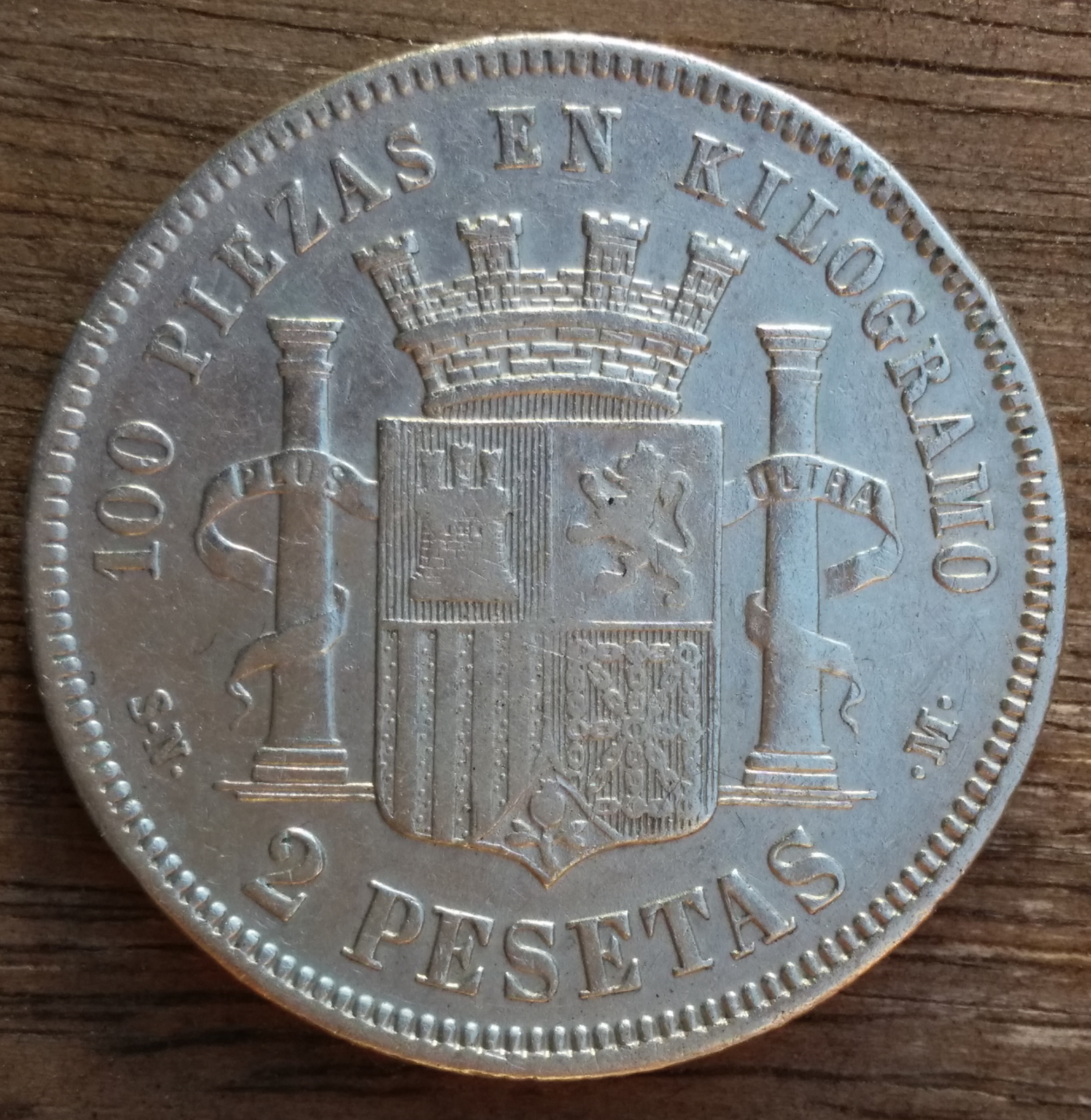 2 Pesetas 1869 Gobierno Provisional 24nfus0