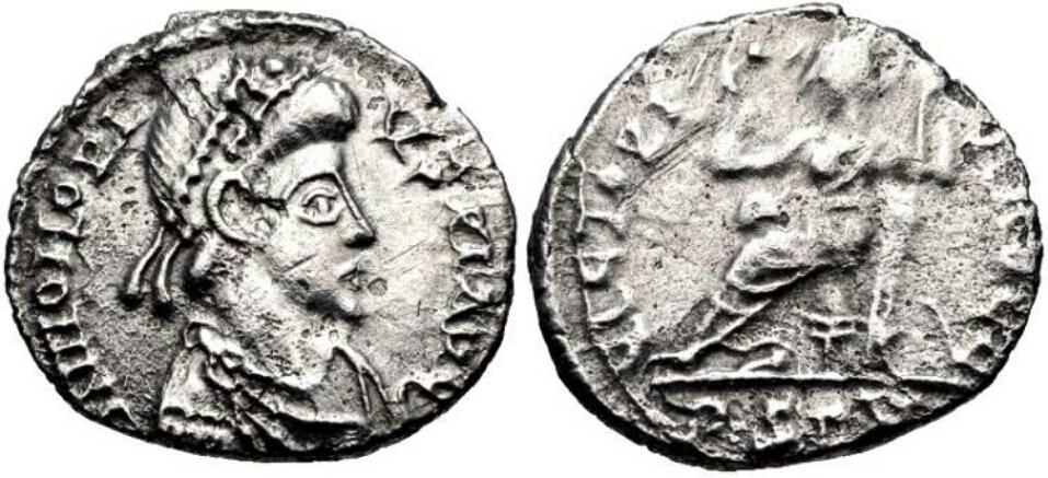 1/2 silicua acuñada por visigodos a nombre de Honorio. VICTORI-A AVGG. Roma sedente a izq. Ceca Arlés. 24wvm6t