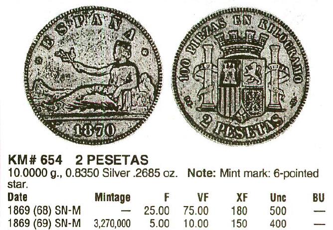 2 Pesetas 1869 Gobierno Provisional 2uz2l90