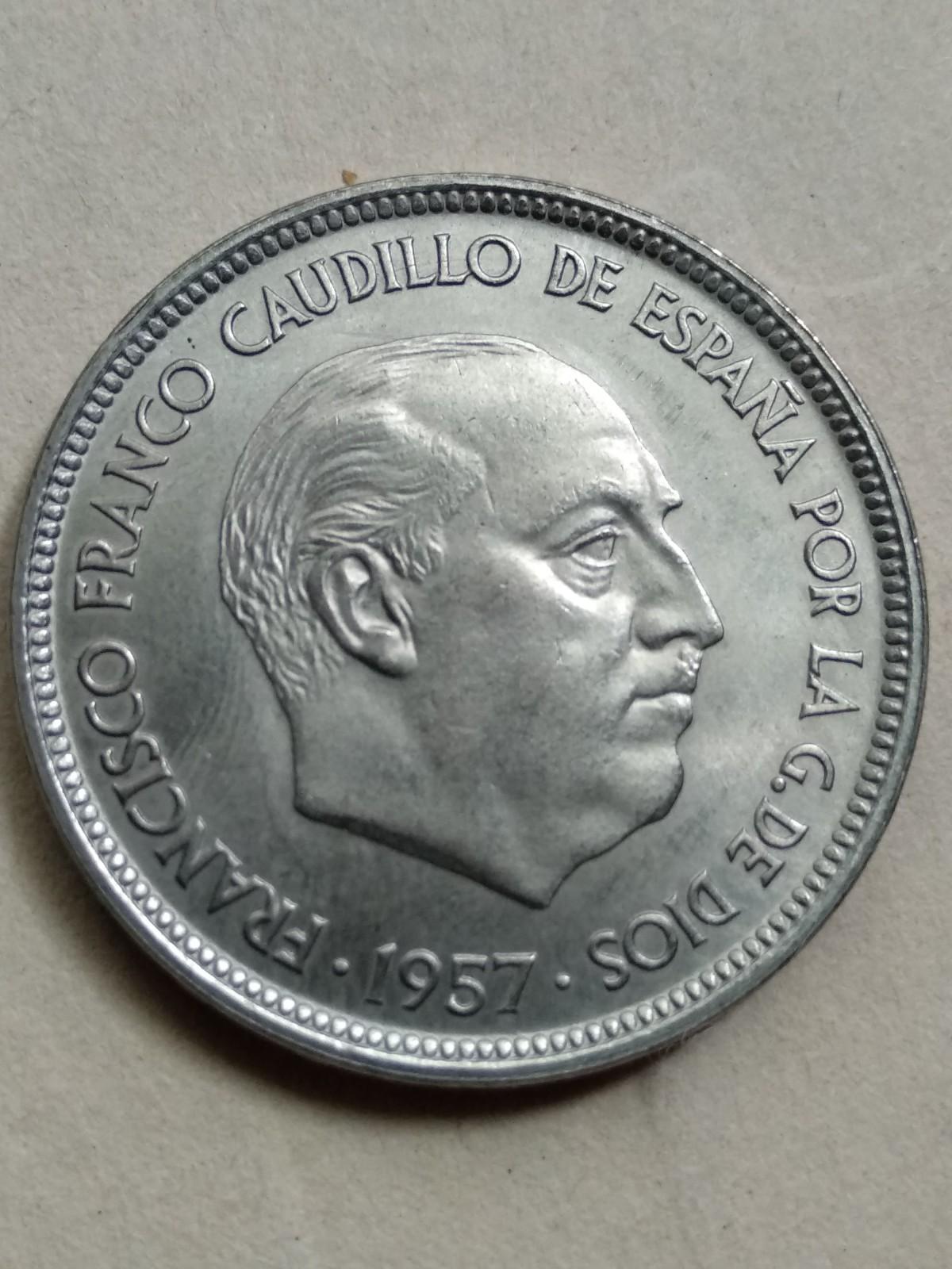 50 pesetas 1957 (*71). Estado Español. Procedente de tira 6ggfbt