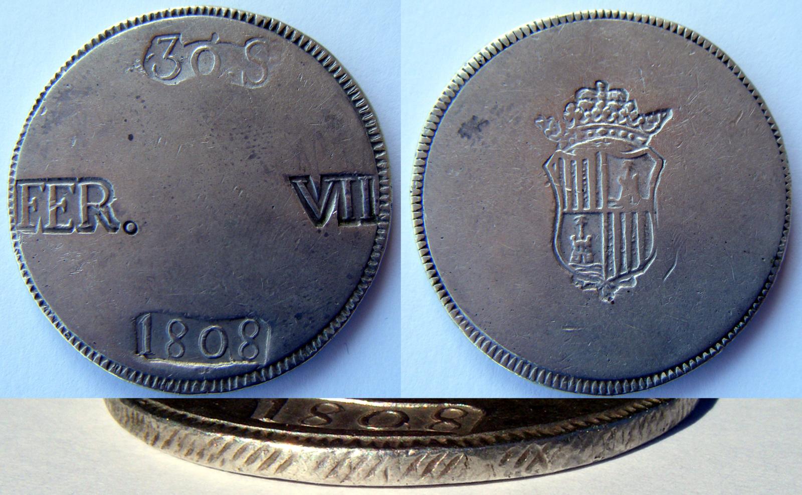 30 Sous 1808 (redonda). Fernando VII. Mallorca If03l3