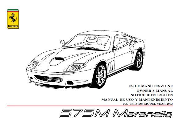 MANUAL USUARIO-MANTENIMIENTO (español): FERRARI 575 MARANELLO (2003) Ngdq39