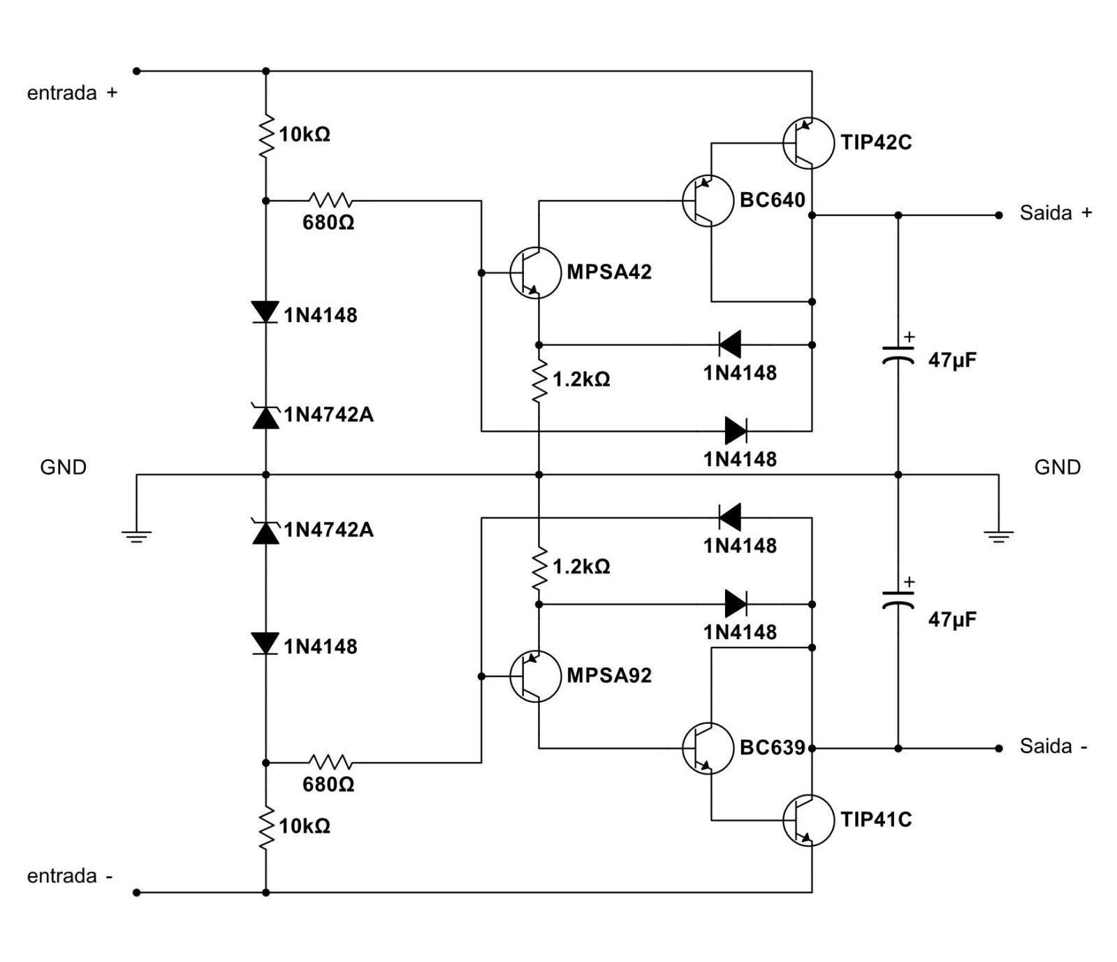 Regulador simétrico para pré amplificador Ormrua
