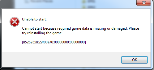 """Unable to start: cannot start because required game data is missing or damaged"" - fixes. 2e4izrb"