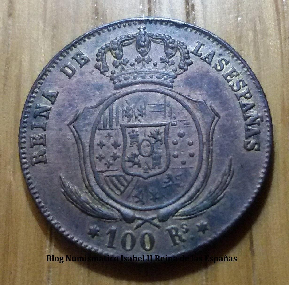 100 reales Isabel II - Falsa de época 2h731jm