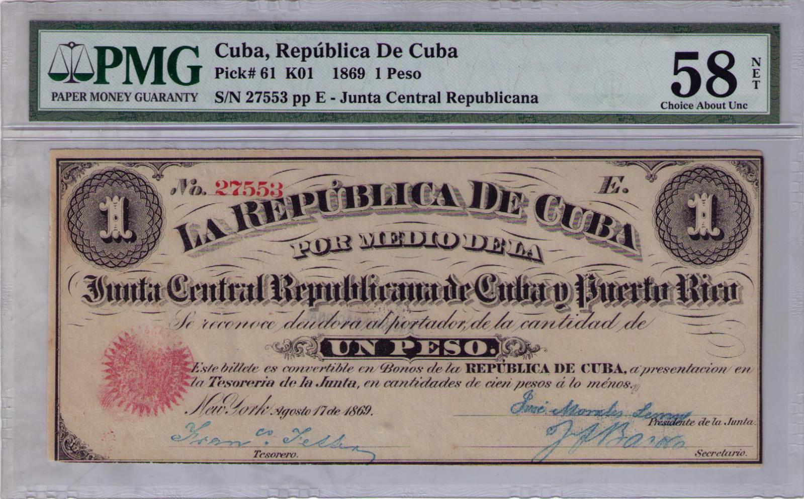 1 Peso 1.869 Junta Revolucionaria de Cuba y Puerto Rico 2i884f8