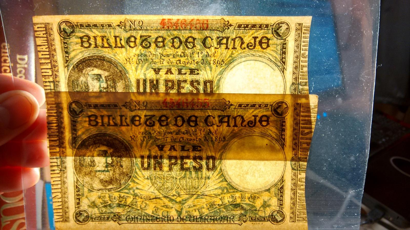 1 Peso 1895 Ultramar PUERTO RICO - Pareja correlativa - Ponce de León 2qup3m0
