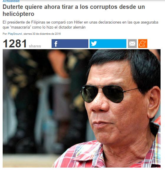 Presidente de Filipinas se comparó con Hitler y quiere matar tres millones de adictos 2vbkcab