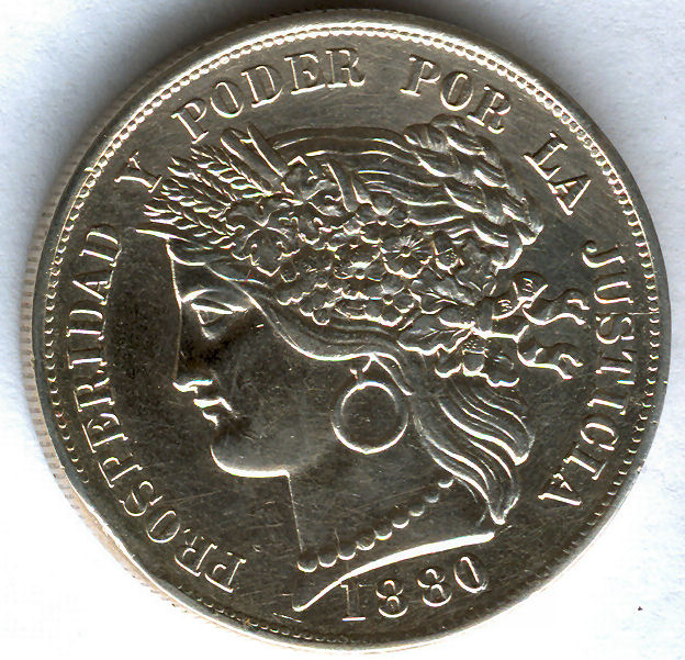 Peru 5 Pesetas 1880 30w6q03