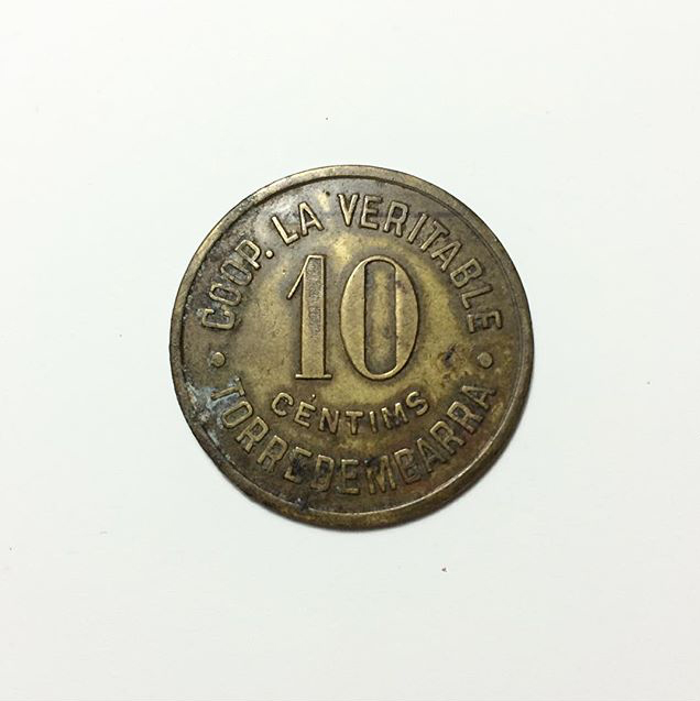 Moneda 10 Centimos Cooperativa la Veritable (Torredembarra) I19yki