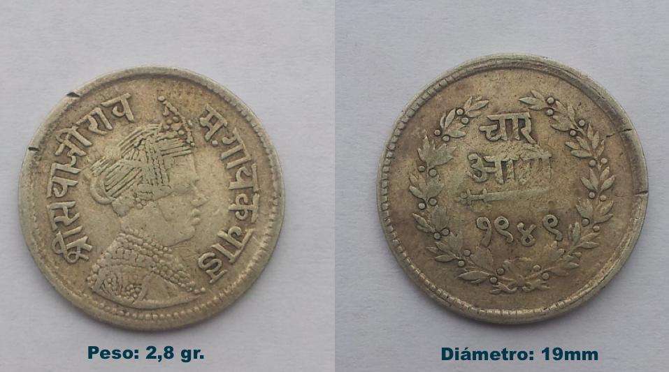 India-Princely States Baroda. 4 Annas - Sayaji Rao III. 1949 (1892) O0yp3s