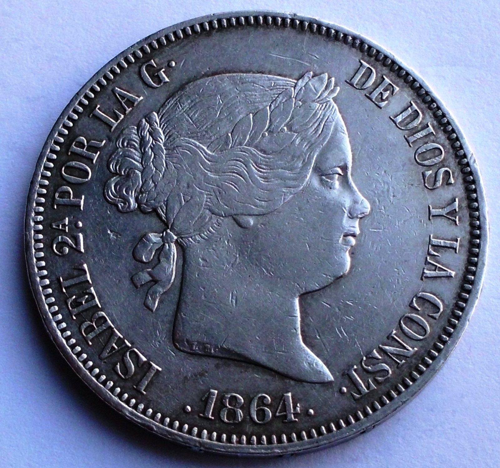 20 reales 1864 isabel II madrid 10drymf