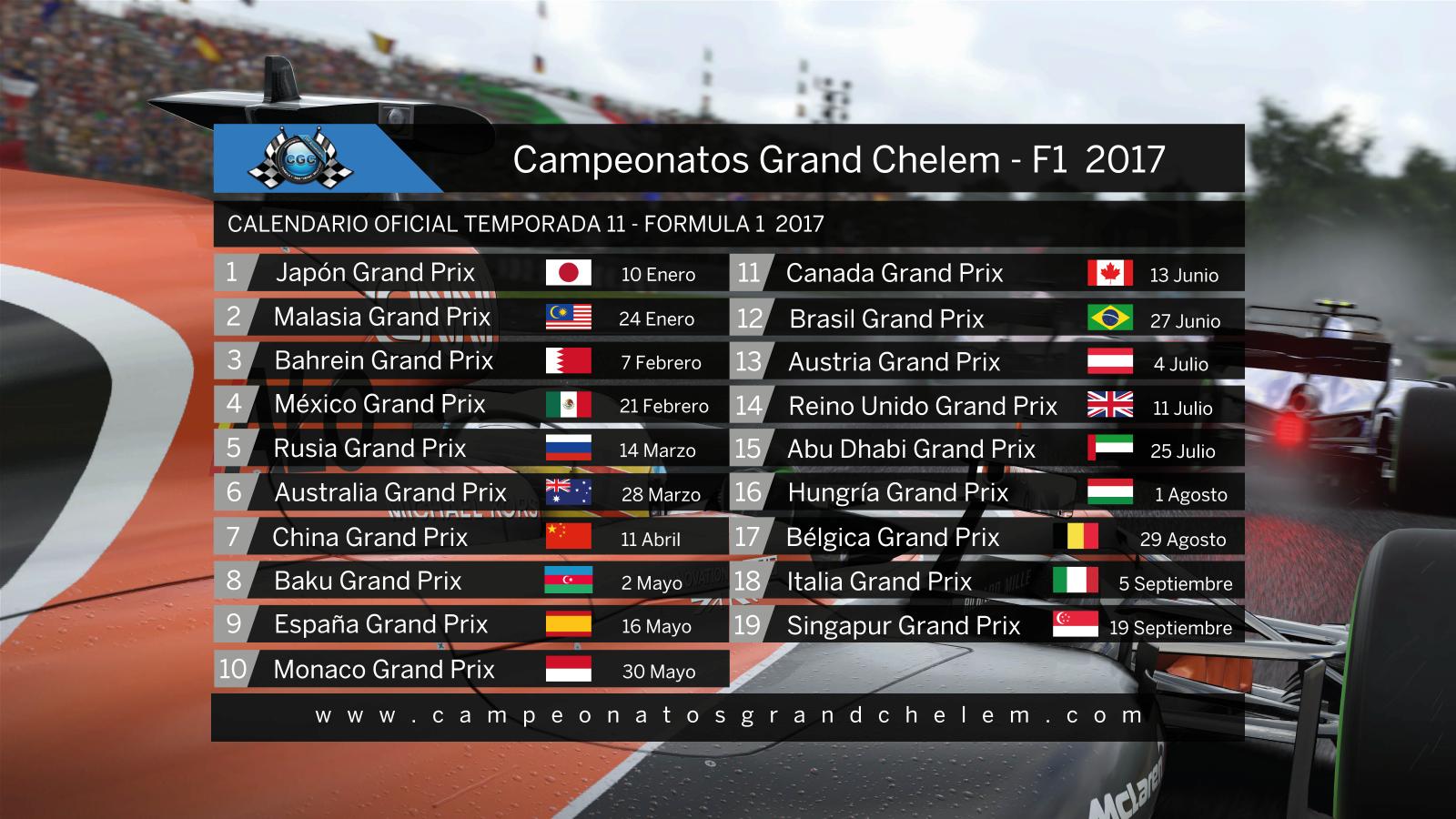 ▄▀▄▀▄▀ Inscripciones T11 | Campeonatos Grand Chelem | F1 2017 ▀▄▀▄▀▄   13ymjae