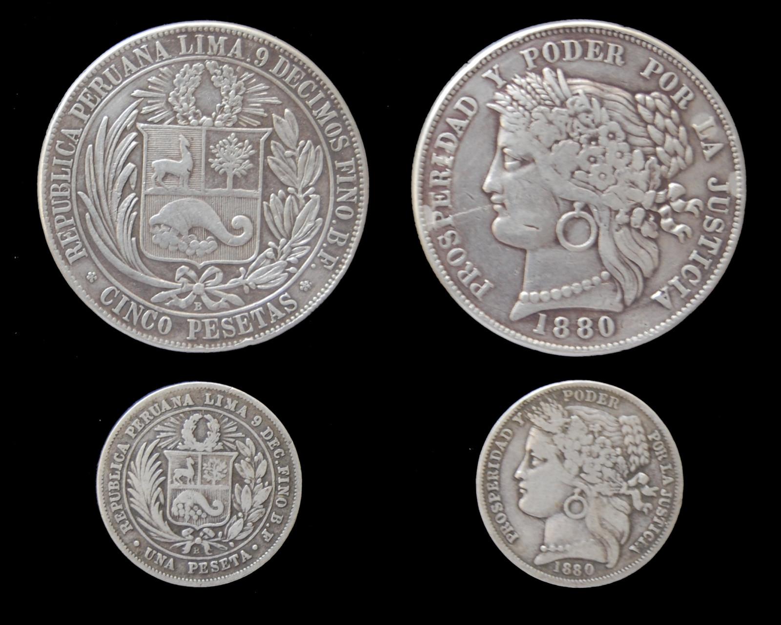 pesetas - Peru 5 Pesetas 1880 16a6xwy
